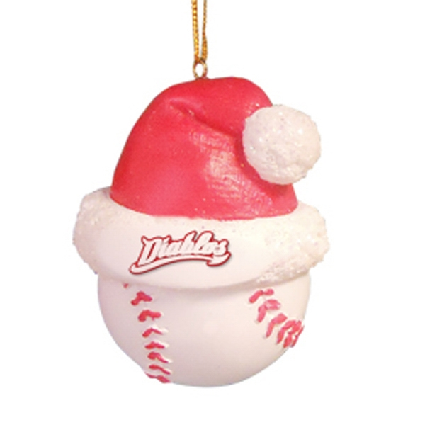 Baseball - Sport Shape Resin Ornament With Santa Hat Photo