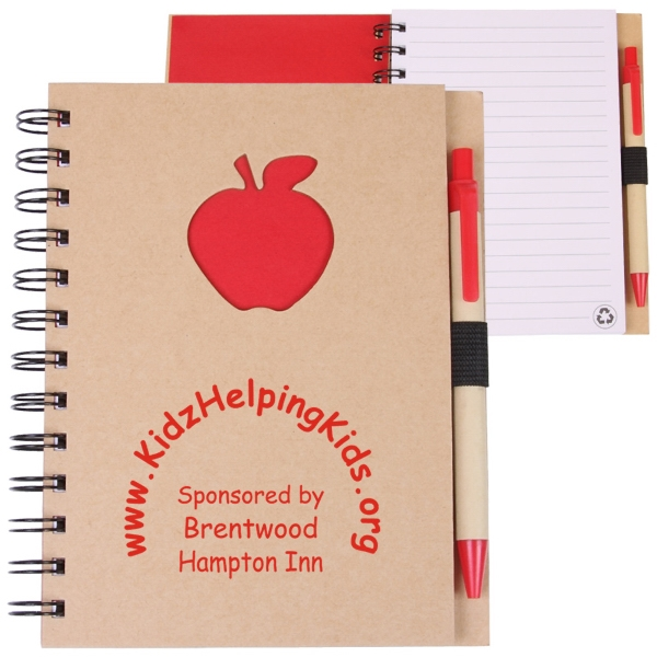 Ecoshapes (tm) - Recycled Hard Cover Wire-bound Notebook With Die Cut Apple Cover Design Photo