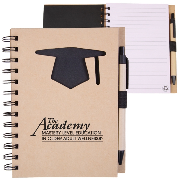 Ecoshapes (tm) - Recycled Hard Cover Wire-bound Notebook With Die Cut Graduation Cap Cover Design Photo