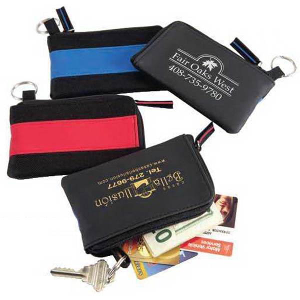 The Runway - Stylish Vinyl/nylon Zipper Wallet With Key Ring. Close-out Photo