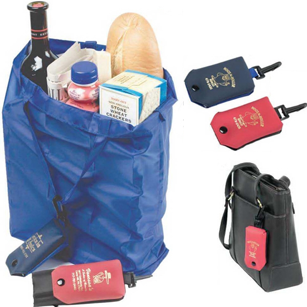 The Clip N'go Shopper - Foldable Nylon Shopping Bag In A Vinyl Snap Pouch With A Sturdy Plastic Clip Photo
