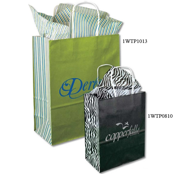 "White Tints And Prints Shopping Bags With Handles, Size 16"" X 6"" X 13"" Long Photo"
