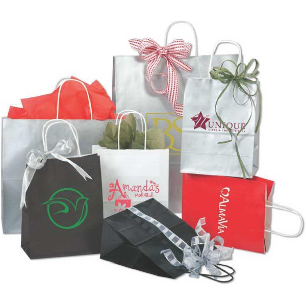 "Enviro Sacks (tm) - 8"" X 10.5"" - White Gloss Coated Shopping Bag With Handle Photo"