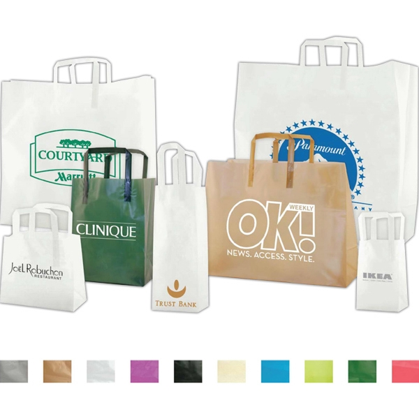"5"" X 13"" - Clear Frosted Tri-fold Handle Shopping Bag, 3.5 Mil High Density Film Photo"