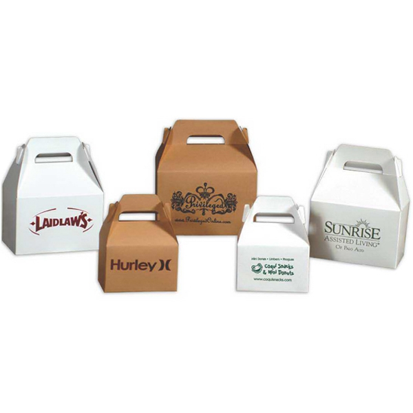 "8"" X 4.875"" X 5.25"" - Natural Kraft Color Gable Lunch Style Box Photo"