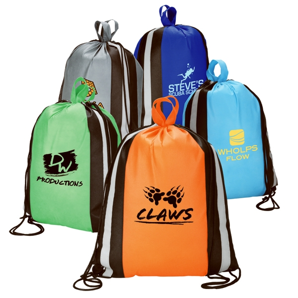 "13 1/2"" X 16"" Non-woven Sport Bag; Reflective Stripes & Backpack Drawstring String Photo"