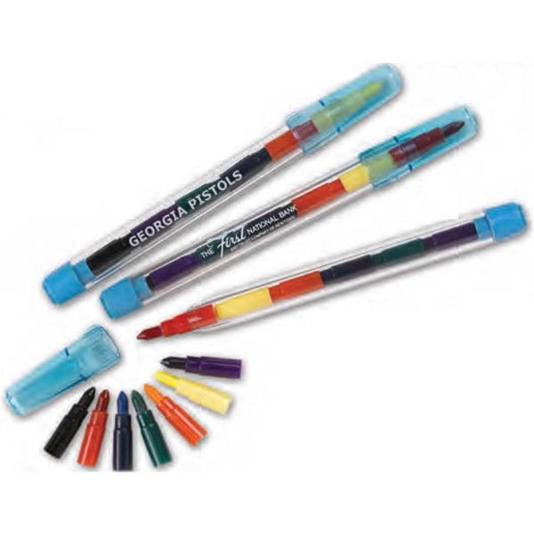 "Pop-a-point - Plastic 5 1/4"" Tube With Seven Interchangeable Crayon Points. Imprinted Photo"