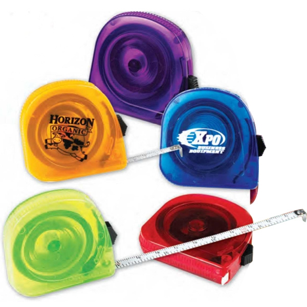 Translucent Tape Measure With Locking Device. Measures Up To 10 Feet. Imprinted Photo