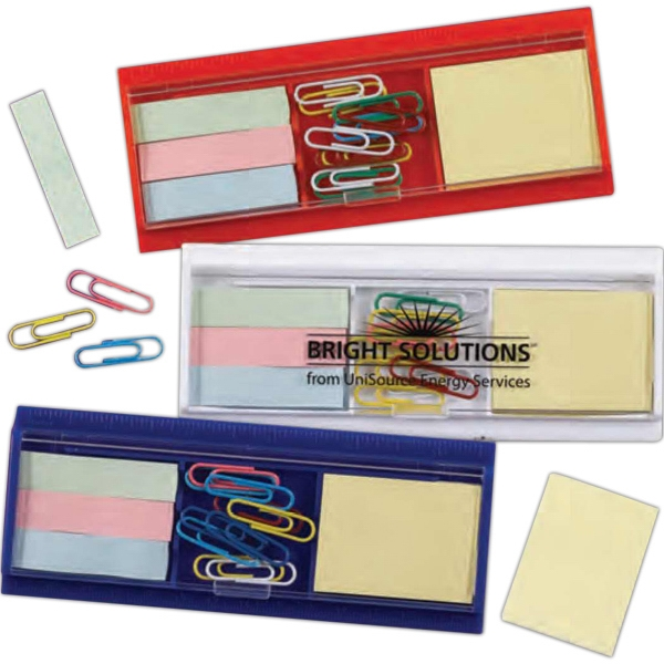 Ruler, Paper Clips, Sticky Flag And Pad Set. Comes With Case. Imprinted Photo