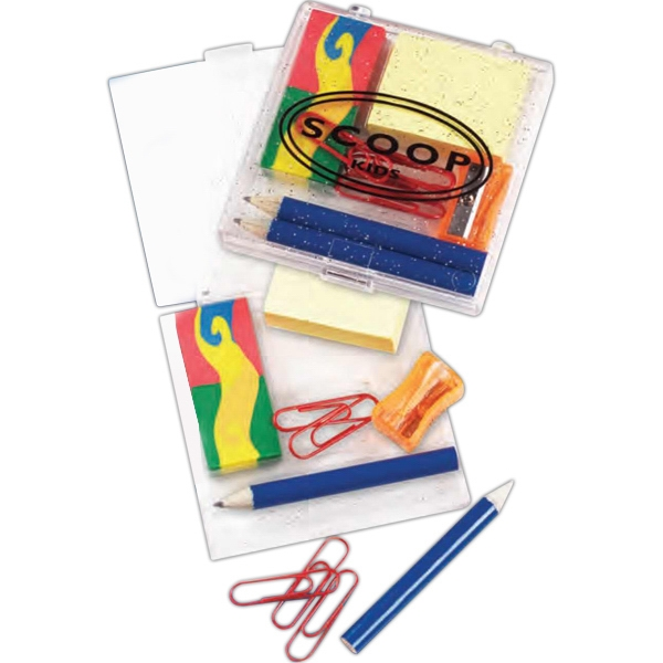 "Office-in-a-box Stationery Set. Comes With Sturdy 3"" X 3"" Acrylic Case. Imprinted Photo"