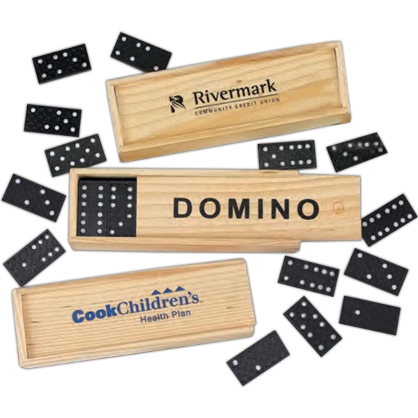 Plastic Dominos. Comes With Wooden Case And Instructions. Imprinted Photo