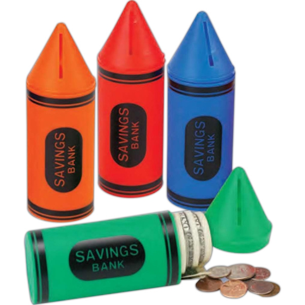 Plastic Crayon Shaped Bank With Stock Graphics. Imprinted Photo