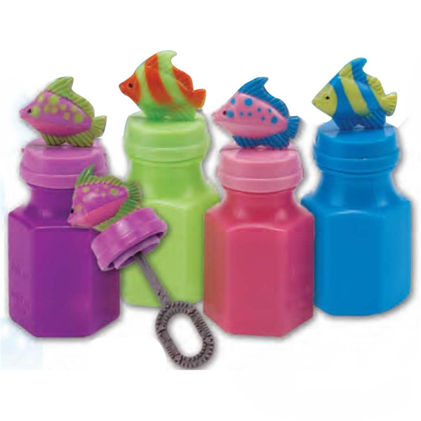 "Mini Fish Bubbles. Overall Bottle Height Is 3"" And The Capacity Is .6 Oz. Imprinted Photo"