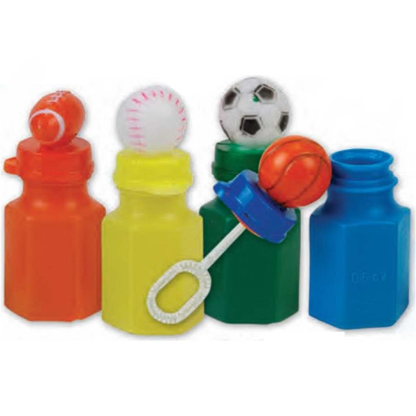 "Mini Sports Bubbles. Overall Bottle Height Is 3"" And Capacity Is .6 Oz. Imprinted Photo"