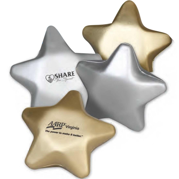 "3"" Metallic Foam Star Shaped Stress Reliever. Imprinted Photo"