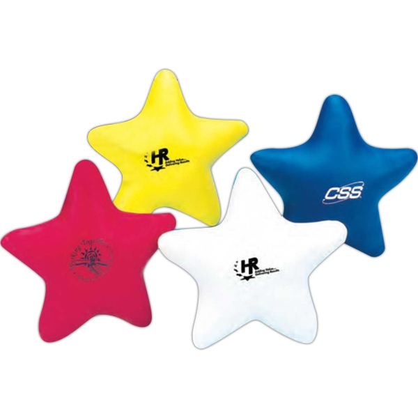 "Soft, Leather-like Vinyl 4"" Star Shaped Stress Reliever. Imprinted Photo"
