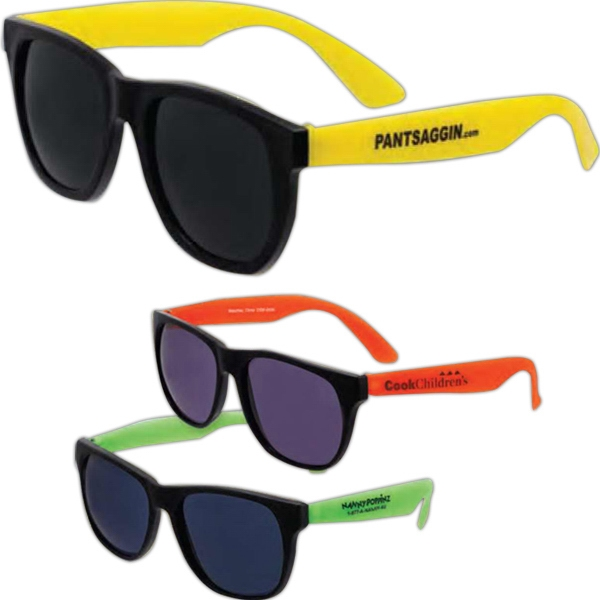 Inexpensive Economy Sunglasses. Black Frames And Assorted Color Temples. Imprinted Photo