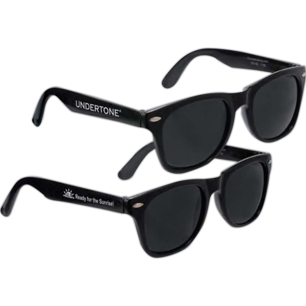 Inexpensive Economy Sunglasses In Black. Imprinted Photo