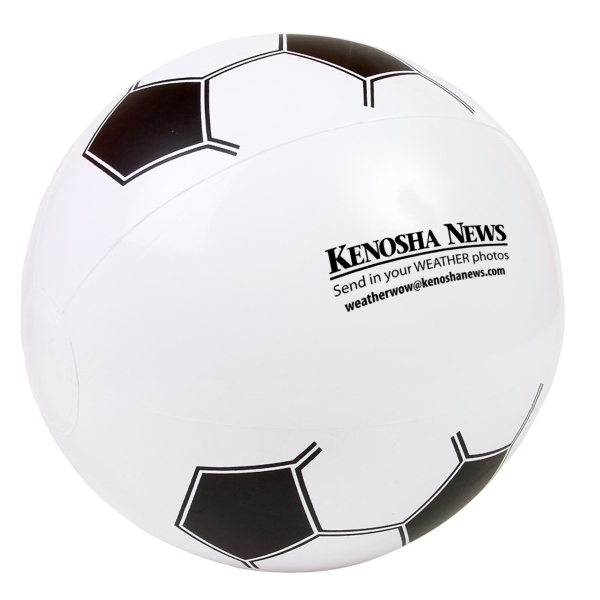 "Inflatable Beach Ball Designed To Look Like A Soccer Ball, 14"" Photo"