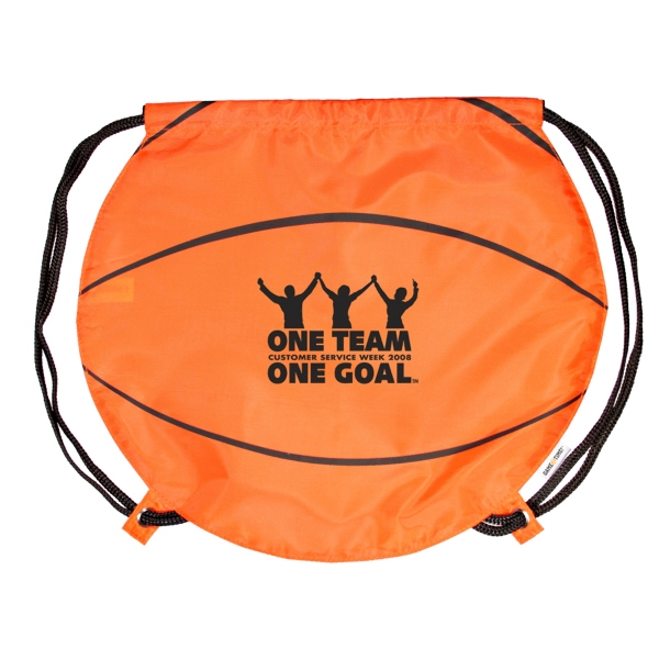 Gametime! (tm) - Classic Drawstring Cinch Bag With A Sport Twist, Basketball Photo