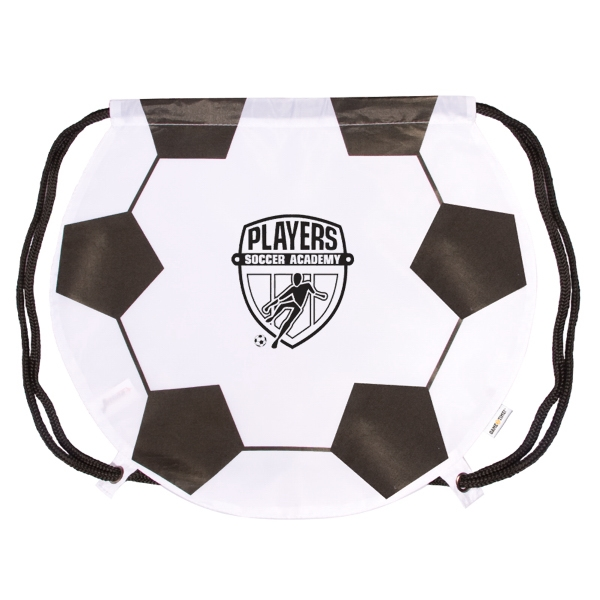Gametime! (tm) - Classic Drawstring Cinch Bag With A Sport Twist Soccer Ball Photo