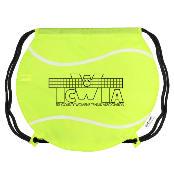 Gametime! (tm) - Classic Drawstring Cinch Bag With A Sport Twist, Tennis Ball Photo