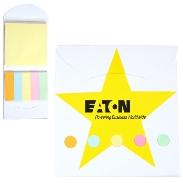 Star Theme Pocket Memo Book Includes Note Pad And 5 Pastel Color Flags Photo