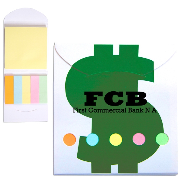 Financial Theme Pocket Memo Book Includes Note Pad And 5 Pastel Color Flags Photo