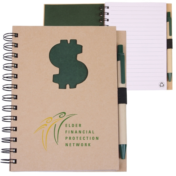 Ecoshapes (tm) - Recycled Hard Cover Wire-bound Notebook With Die Cut Dollar Sign Cover Design Photo