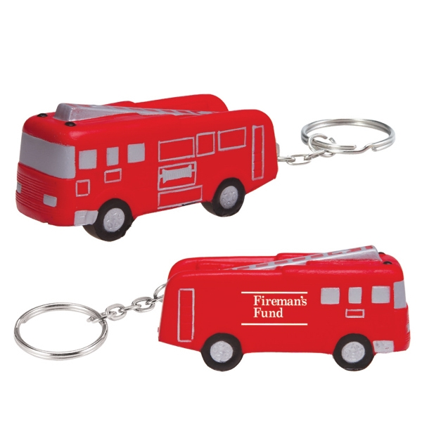 Fire Truck Shaped Stress Reliever With Keychain Photo