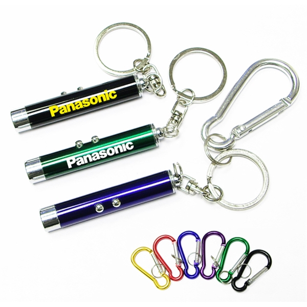 Dual function laser pointer and LED flashlight  keychain