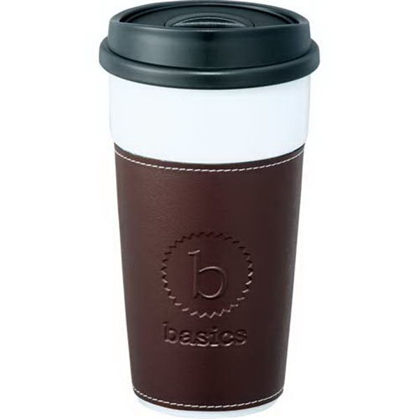 Hampton - Double-wall 16 Oz Ceramic Tumbler With Push On Hard Lid Fits Securely Photo