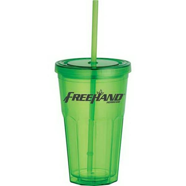 Sedici Surge - Double-wall Acrylic 17 Oz Tumbler. Acrylic Straw With Stopper Photo