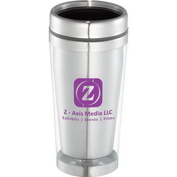 North Beach - 16 Oz Tumbler, Transparent Plastic Outer With Stainless Steel Liner Photo