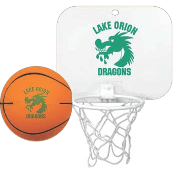 "Backboard With Imprinted Basketball - Mini Backboard With 4"" Foam Basketball Photo"