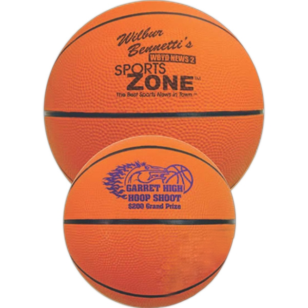 "Mini Rubber Basketball, 7"" Features A Re-inflatable Athletic Valve Photo"