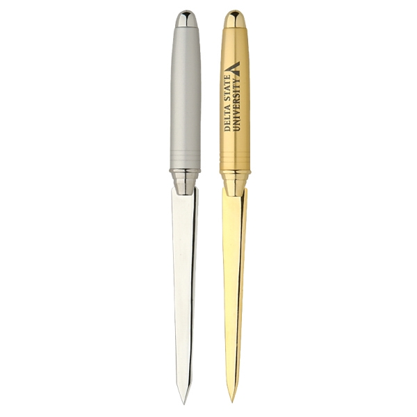 Ambassador - Satin Silver - Brass Letter Opener With Metallic Trim Photo