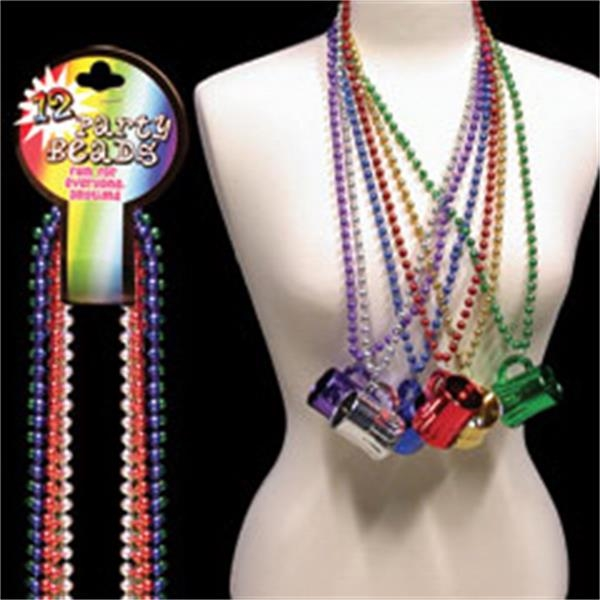 "Toy Beer Mug 33"" Metallic Mardi Gras Beads, Blank Photo"