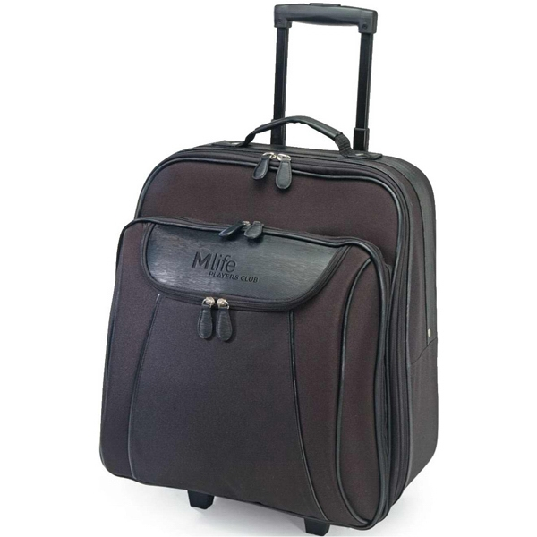 Paris - Black Rolling Briefcase Made Of 600d Polyester With A Top Carrying Handle. Closeout! Photo