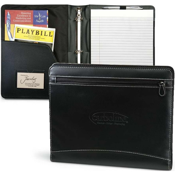 "Perspective - Black Leatherette Padfolio With White Accent Stitching And 1"" 3-ring Binder Photo"