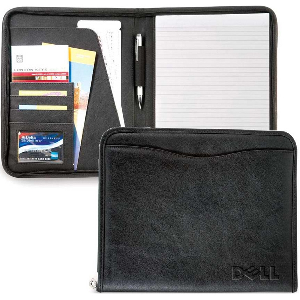 Avergon - Letter Size Textured Leatherette Padfolio With Zippered Closure. Closeout Photo