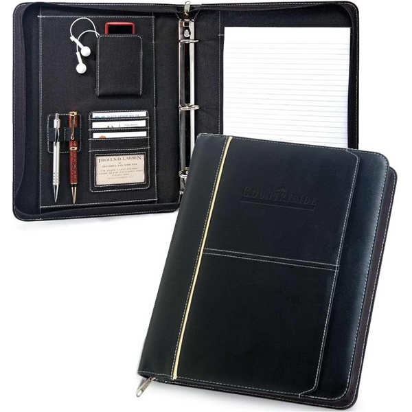 "Manager - Letter Size Black Zippered Padfolio With 1.75"" 3-ring Binder Photo"