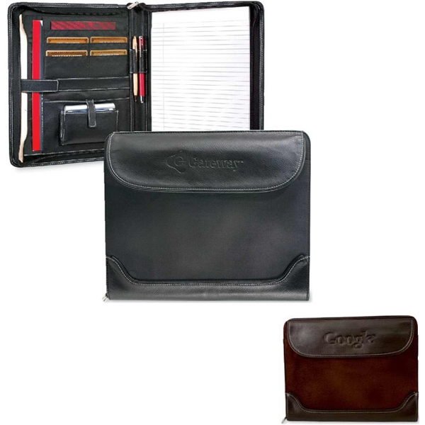 Venetian - Zippered Padfolio With Suede Cloth And Simulated Leather Exterior. Closeout! Photo