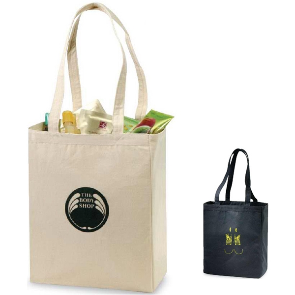 "Spirit (r) - Black - Sturdy Economical Tote Bag With Self-fabric Handles And Large 5"" Gusset Photo"
