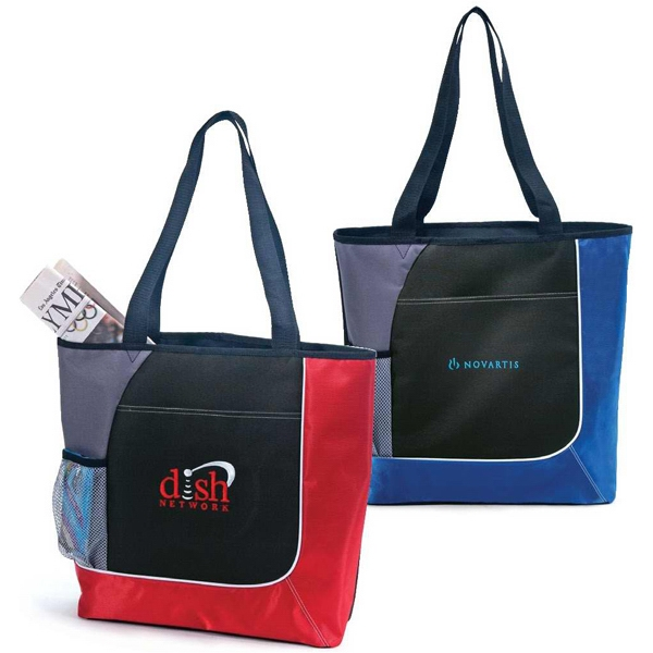 Commerce - Polyester Tote Bag With Colorful Accents And White Piping Photo