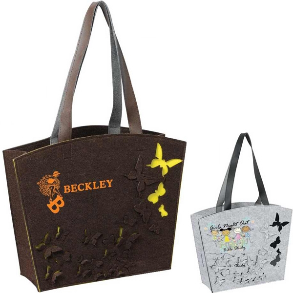 "Butterfly - 3mm Felt Tote Bag With A Wide Mouth And Open Compartment, Handle 22"" Photo"