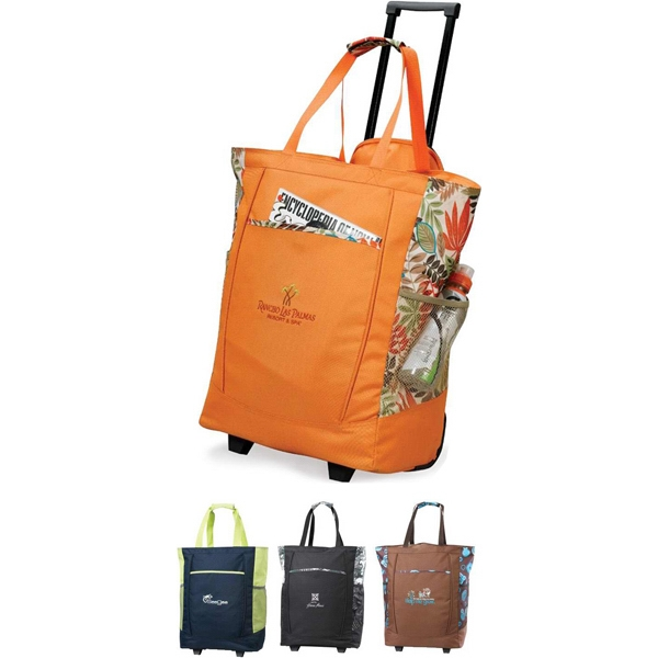 Polyester Handy Rolling Tote Bag With Hidden Retractable Pull Handle Photo