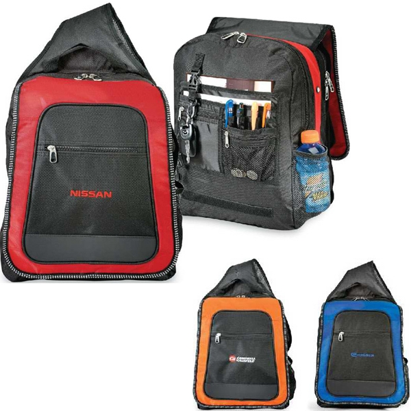 Techno - Computer Sling Backpack With Adjustable-angle Strap With Phone Pocket. Closeout! Photo