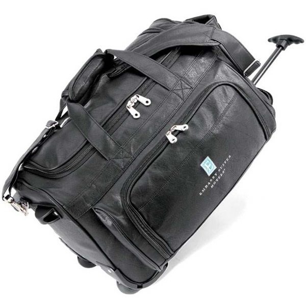 Statute Koskin Collection - Elegant Koskin Rolling Duffel With Side Carry Handle And Removable Shoulder Strap Photo