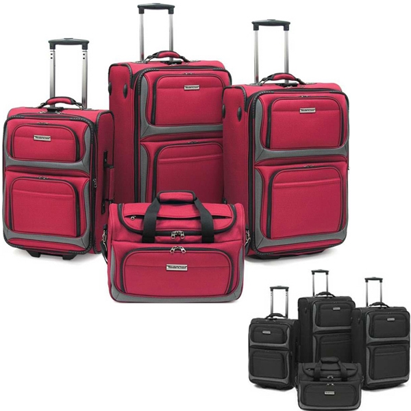 Rugged, Heavy Duty 1800 Denier 4pc Luggage Set With Pvc Backing. Blank Photo